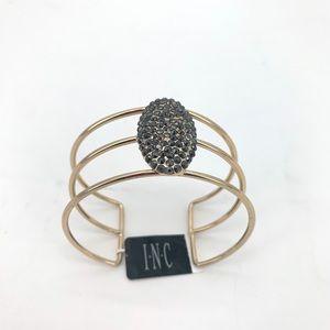 4/$25 INC Hematite Gold Bangle Cuff NEW